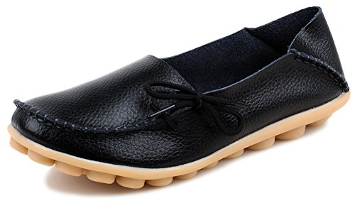 Kunsto Women's Leather Casual Loafer Flats Shoes US Size 8 Black