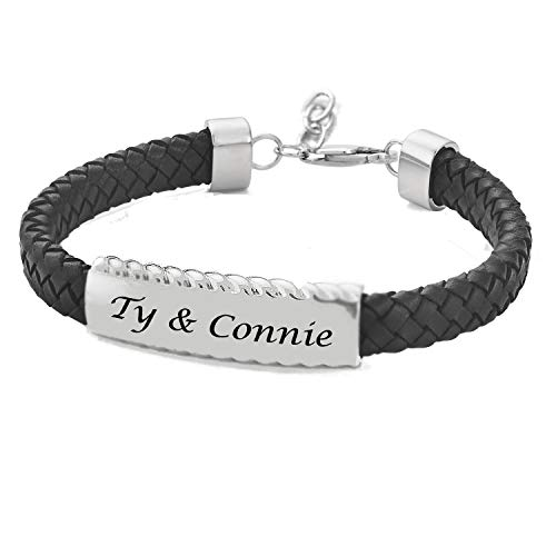 - Personalized Black Leather Cord Men's ID Bracelet with Silver Stainless Steel Plate Custom Engraved Free