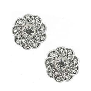 La flor de la margarita de casitas de plata y cristal austríaco suite del perno prisionero de pendientes perforados