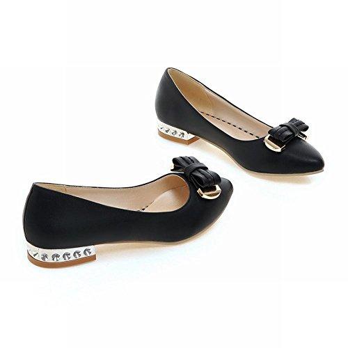 Show Shine Mode Féminine Doux Arcs Bout Pointu Chaussures Noir