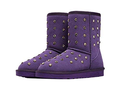 Purple Nubuck HooH Boots Warm Diamonds Snow Women's Bling n6wvz0PSq