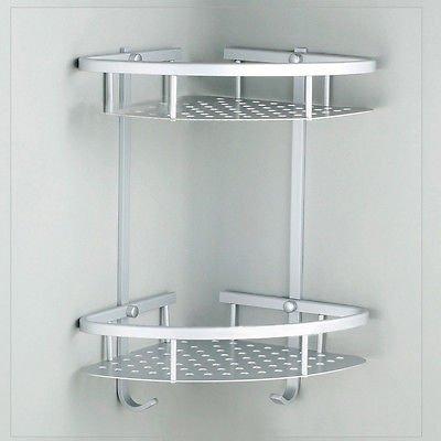 zjchao aluminium eckregal duschablage badablage badregal mit haken badzimmer dusche 2 tiers - Duschablage Ecke