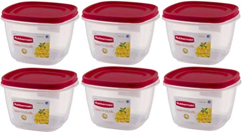 Rubbermaid 1925459 Easy Find Lid Square Food Storage Containers, 7 Cups, Catalog Code 7J67, Crystal Clear Plastic Base with Red Lid, Pack of ()