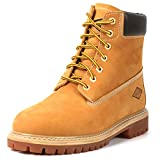 6' Men's Soft Toe Work Boots - Stylish Leather Work Boots - Lace Up, Oil and Slip Resistant Boots with Rubber Outsoles