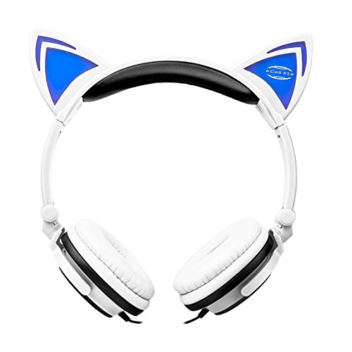 Cat Ears Headphones with Glowing LED Lights for Windows Mac PCs, Laptops, iPhone 7 Plus and more(White)