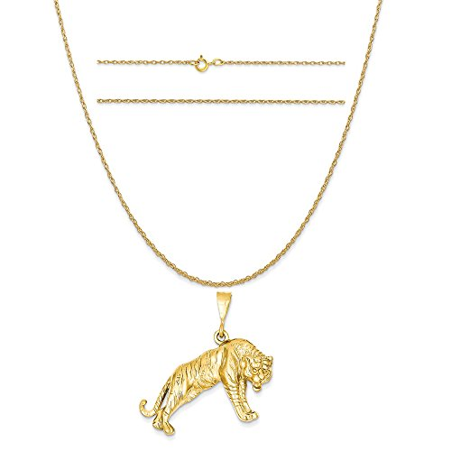 14k Yellow Gold Tiger Charm on a 14K Yellow Gold Carded Rope Chain Necklace, 16