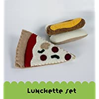 Felt Lunch Play Set, Hot Dog and Pizza