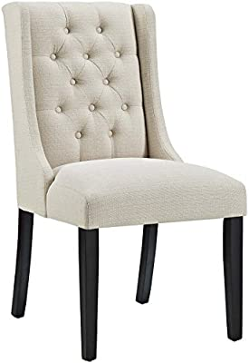 Amazon Com Modway Baronet Modern Tufted Upholstered Fabric Parsons Kitchen And Dining Room Chair In Beige Chairs