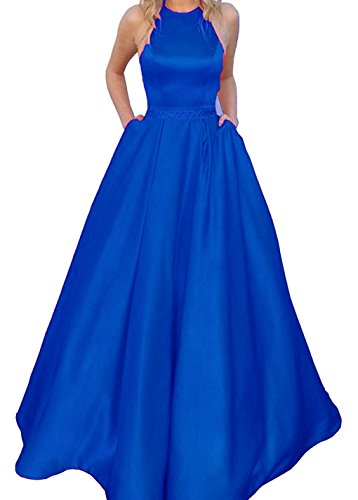 Evening Royal Line BD475 BessDress Blue Gown A Beads Party Back Halter With Prom Open Waist Dresses Pockets AZZx4wP