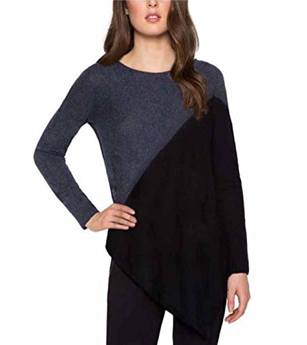 Matty M Womens Asymmetrical Wool Blend Pullover Crew Neck Long Sleeve Sweater (XX-Large, Heather Denim/Black) ()