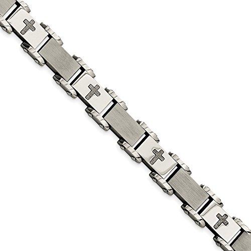 (Mia Diamonds Stainless Steel Laser Cut Crosses 8.75in Bracelet)