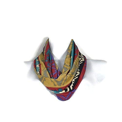 Southwestern Infinity Scarf Southwestern Scarves Aztec Scarf All Seasons Infinity Scarf Red Turquoise Black Mustard White Scarf