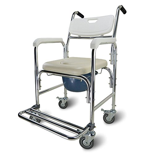 Active Authority Multiple Function Transport Wheelchair, Bedside Toilet & Transfer Chair - up to 300lbs