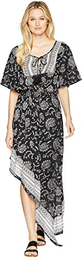 Green Dragon Women's Henna & Her Sisters Whitehaven High-Low Maxi Dress Cover-up Black X-Small (In Dress Black Ashley)