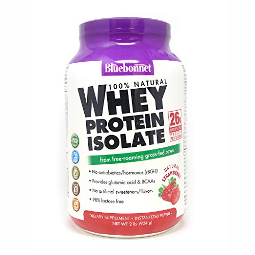 Bluebonnet Nutrition 100% Natural Whey Protein Isolate Powder, Strawberry Flavor, 2 Pound