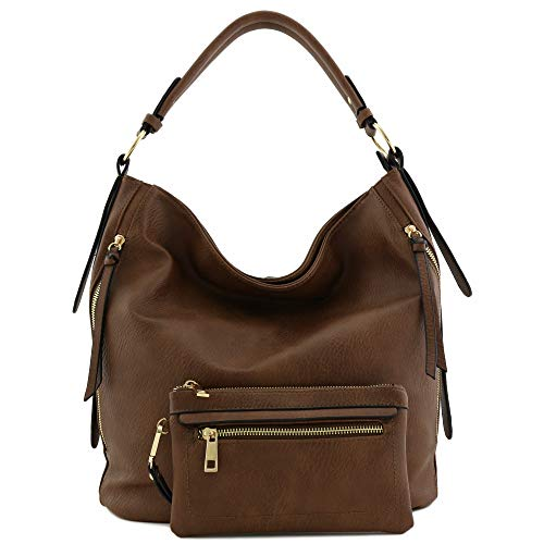 2pc Set Faux Leather Large Hobo Bag with Pouch Purse ()