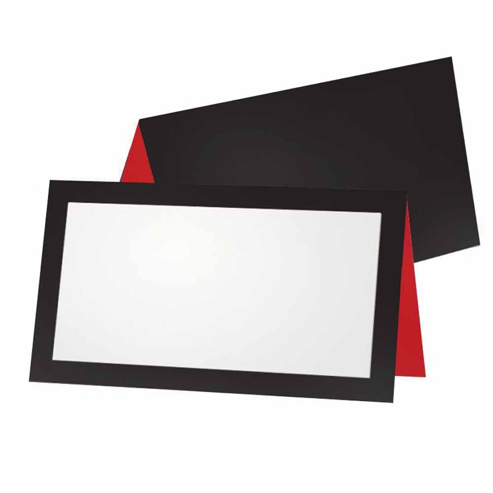 Flat or Tent 10 or 50 Pack Occasion or Dinner Event White Blank Front with Border Placement Table Name Seating Stationery Party Supplies Black and Red Place Cards 50, Flat Style