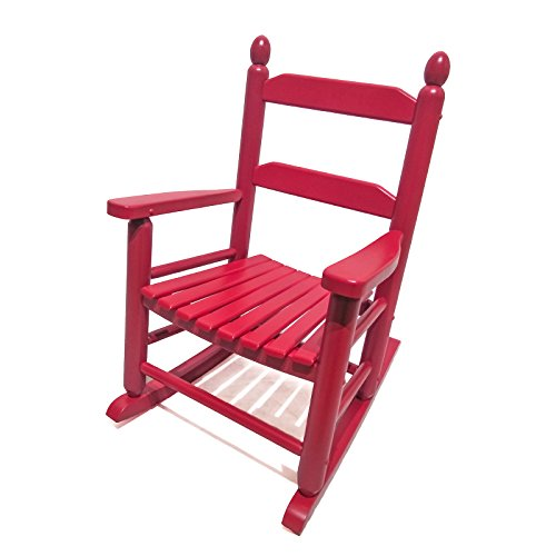 - ORNO TTOBE Classic Solid Hardwood Child's Rocking Chair for Age 1-8, Red