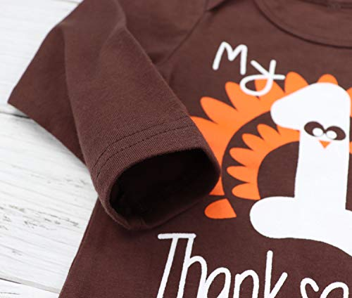 0843a726442 Baby Thanksgiving Outfit Newborn Girls Boys My 1st Thanksgiving Bodysuit Turkey  Pants 4Pcs Clothes Sets 6
