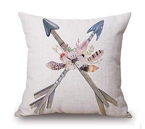ZOZGETU Pillow Cases,Retro Nostalgia Flower thers Arrow Cotton Linen Throw Pillow Covers Case Cushion Cover Sofa Decorative Square