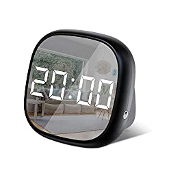 SYIHLON LED Travel Alarm Clock,Small Bedside Digital Alarm Clock with Dimmable,Battery Operated Desk Alarm Clock with Sound Control,Smart Dual Alarm Clock for Bedroom Kids' Room Office Kitchen Travel
