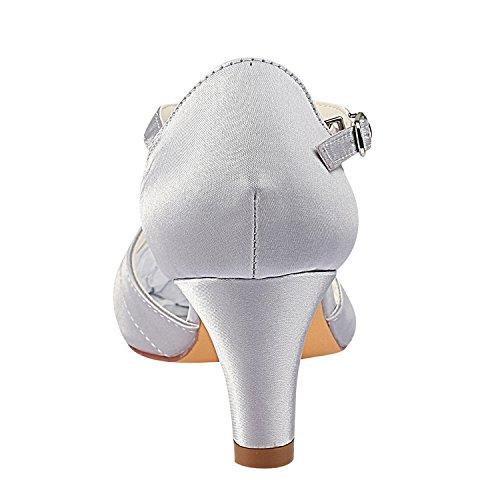 de de Mariée Bridal Chaussures Silver Emily Femme Talon Soie de de en Soie Souliers en Forme EqtwEd