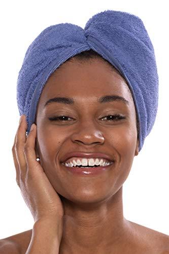 Texere Women's Bamboo Viscose Hair Towel (Tya, Kashmir Blue, U) Soft Spa Wrap
