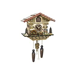 Quartz Cuckoo Clock Black Forest house with moving beer drinker and mill wheel, with music TU 4222 QM