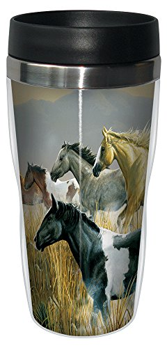 Band of Thunder Horses Travel Mug, Stainless Lined Coffee Tumbler, 16-Ounce - Equestrian Gifts for Horse Lovers - Tree-Free Greetings 77078 - Horse Travel Mugs
