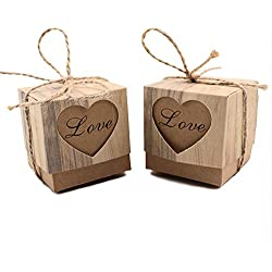 VGoodall Rustic Candy Boxes,50pcs Wedding Favor Boxes,Love Kraft Bonbonniere Paper Gift Boxes with Burlap Jute Twine for Bridal Shower Wedding Birthday Party Rustic Wedding Decorations