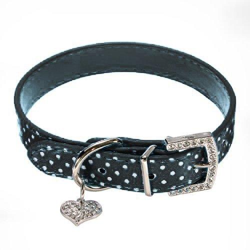 Black Diamond Leather Collar (Adjustable Buckle Closure Dog Collar with FREE Matching Leash Durable PU Leather - With Diamond Buckle and Heart Pendant. (Black, Large Nack: 14-18)