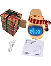 Night Light For Kids - Portable Safe Rechargeable Baby Lamp Room Décor with Alarm Clock - Worshopping Gift Wrapped Kids Night Light For Birthdays And Christmas