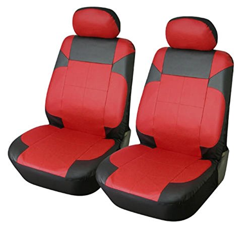 OPT Brand. Vinyl Leather 4PC SET Toyota Corolla Prius Highlander Camry 4Runner Land Cruiser Avalon Yaris RAV4 Prius C V 2 Front Car Auto Seat Covers, Black/Red Red Color. 77153-R/BK