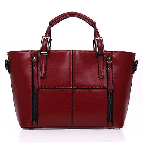 Europa Y Los Estados Unidos Primavera Y Verano Nuevo Bolso De Costura De Las Mujeres Bolso De Moda De Cuero Portátil Messenger Bag Tide Red