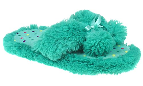 Capelli New York Girls Fur Thong Slippers with Bow and Poms Teal S / M New York Satin Bow