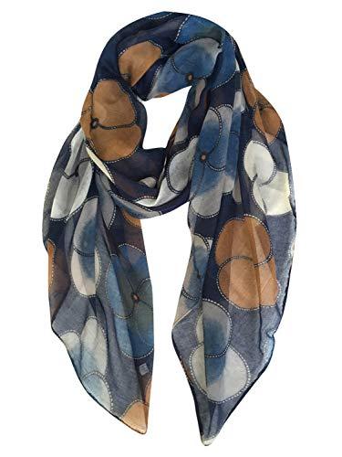 GERINLY Scarf Wrap Fashion Cozy Scarves Womens Floral Evening Shawls (NavyBlue)