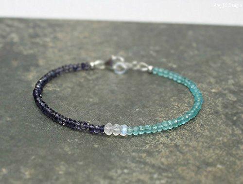 JP_Beads Apatite, Iolite & Rainbow Moonstone Bracelet, Apatite Jewelry, Layering, Beaded Gemstone Jewelry 7