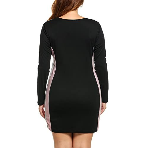 Meaneor Women Plus Size Basic Dress Long Sleeve V-Neck Midi L-4XL delicate