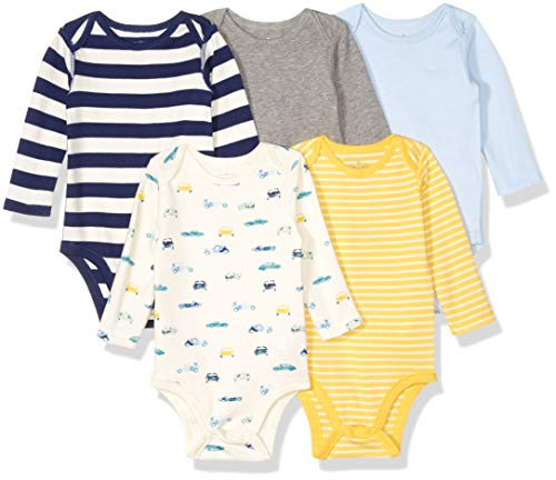 Moon and Back Baby Set of 5 Organic Long-Sleeve Bodysuits, Cars 24 Months
