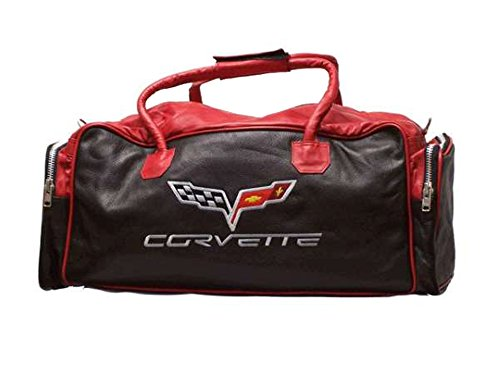 Corvette C6 Red/Black Leather Travel Bag by Corvette Central