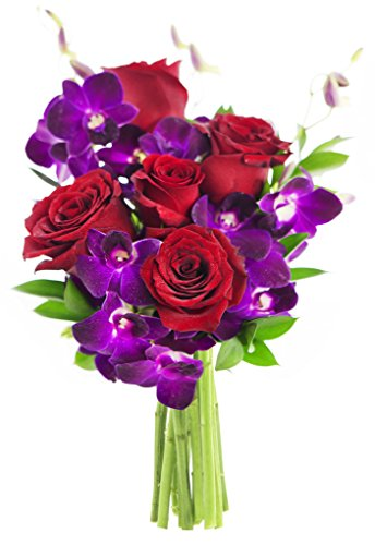 KaBloom Bouquet of Ruby Orchids and Roses: 5 Red Roses, 5 Purple Dendrobium orchids and Lush Greens without Vase