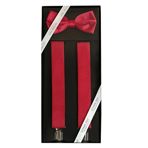 Luther Pike Formal Dress Mens Prom or Dance Bow Tie & Tuxedo Burgundy Red Suspenders For Men Gift Box]()