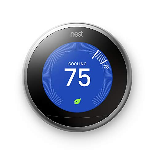 Energy Saving Battery - Nest (T3007ES) Learning Thermostat, Easy Temperature Control for Every Room in Your House, Stainless Steel (Third Generation), Works with Alexa