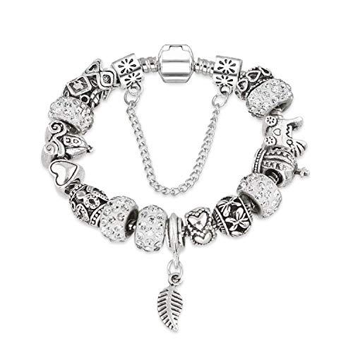 spyman Rhinestone European Beads Charm Women Bracelets Fashion Charm Bracelets Bangles for Women Jewelry with Beautiful Gift Bag,White ()