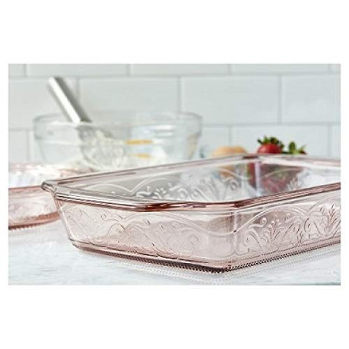 Anchor Hocking 4-Piece Laurel Embossed Rosewater Bake and Serve -