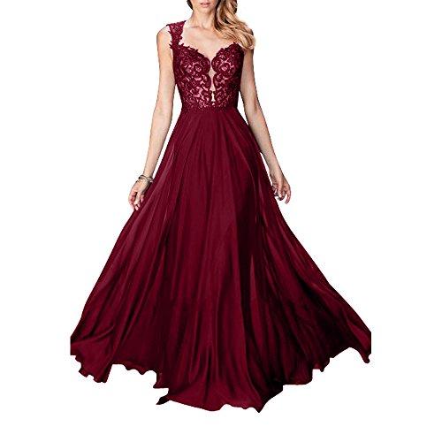 Abendkleider Weinrot Damen Blau Lang Spitze Neu Royal Ballkleider Abschlussballkleider Partykleider Aermellos Charmant zXxPqwdq