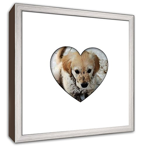 - Heartstagram Picture Frame - Stainless Steel Wood Frame with Heart Shaped Mat Cut for a 4
