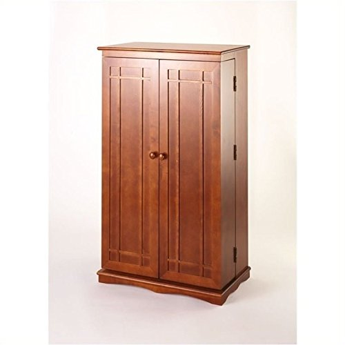 Leslie Dame CD-612W Solid Oak Multimedia Storage Cabinet with Classic Mission Style Doors, Walnut (Walnut Cabinet)