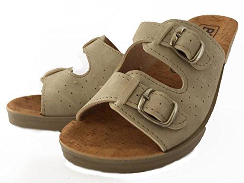 Beige en Femme Cuir Mules Sabots Chaussures 203 BRAVO Sandales Chaussons 6qxSwOY