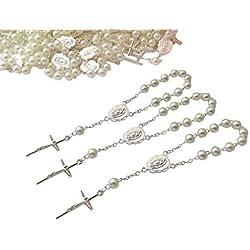 25 Baptism Favors Ivory Color Faux Pearls Silver Plated/25 Recuerdos De Bautizo color beige en tono Plata/Christening Favors/mini rosaries/finger Rosaries/Off white Baptism Favors
